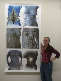 Me at Anderson Ranch with my largest torso print on silk, 42 x 80 inches