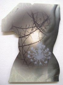 torso on shaped panel, 24 inches high, with silkscreen
