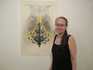 April Vollmer with digital and woodblock on Japanese paper