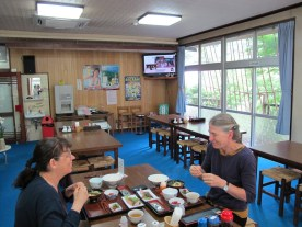 Japanese brekfast at the onsen included fish and a raw egg