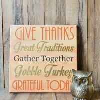 DIY Thanksgiving Art {Vinyl on Canvas}