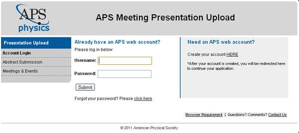 Uploading Presentation Materials for APS Meetings