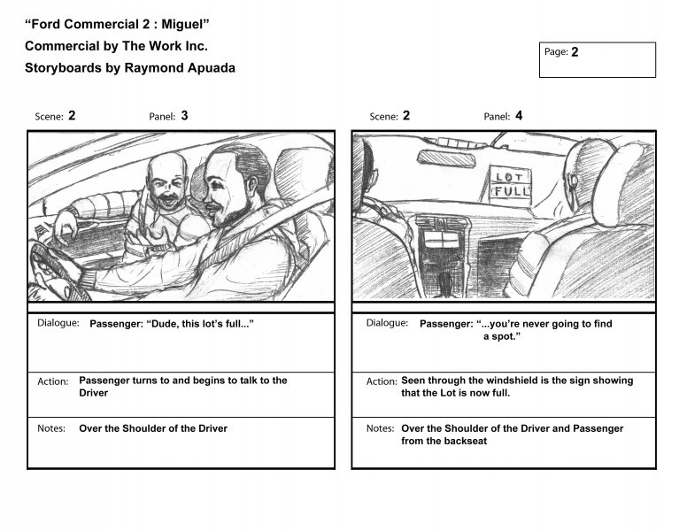 Storyboards Apuada Arts - commercial storyboards