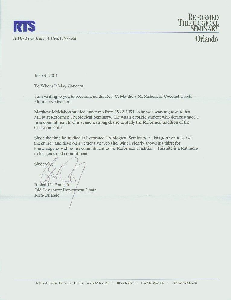 pratt recommendation letter