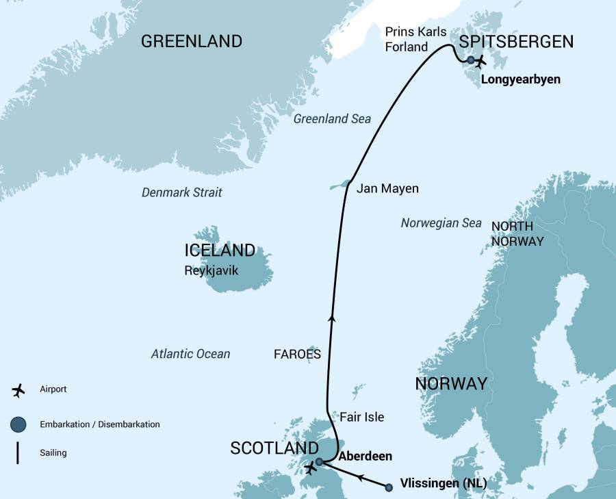 Spitsbergen Arctic Polar Voyage starting Scotland to the Faroes