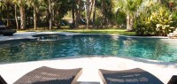 Free Form Pool Spa Combo With Rock Waterfall   Aqua Blue Pools