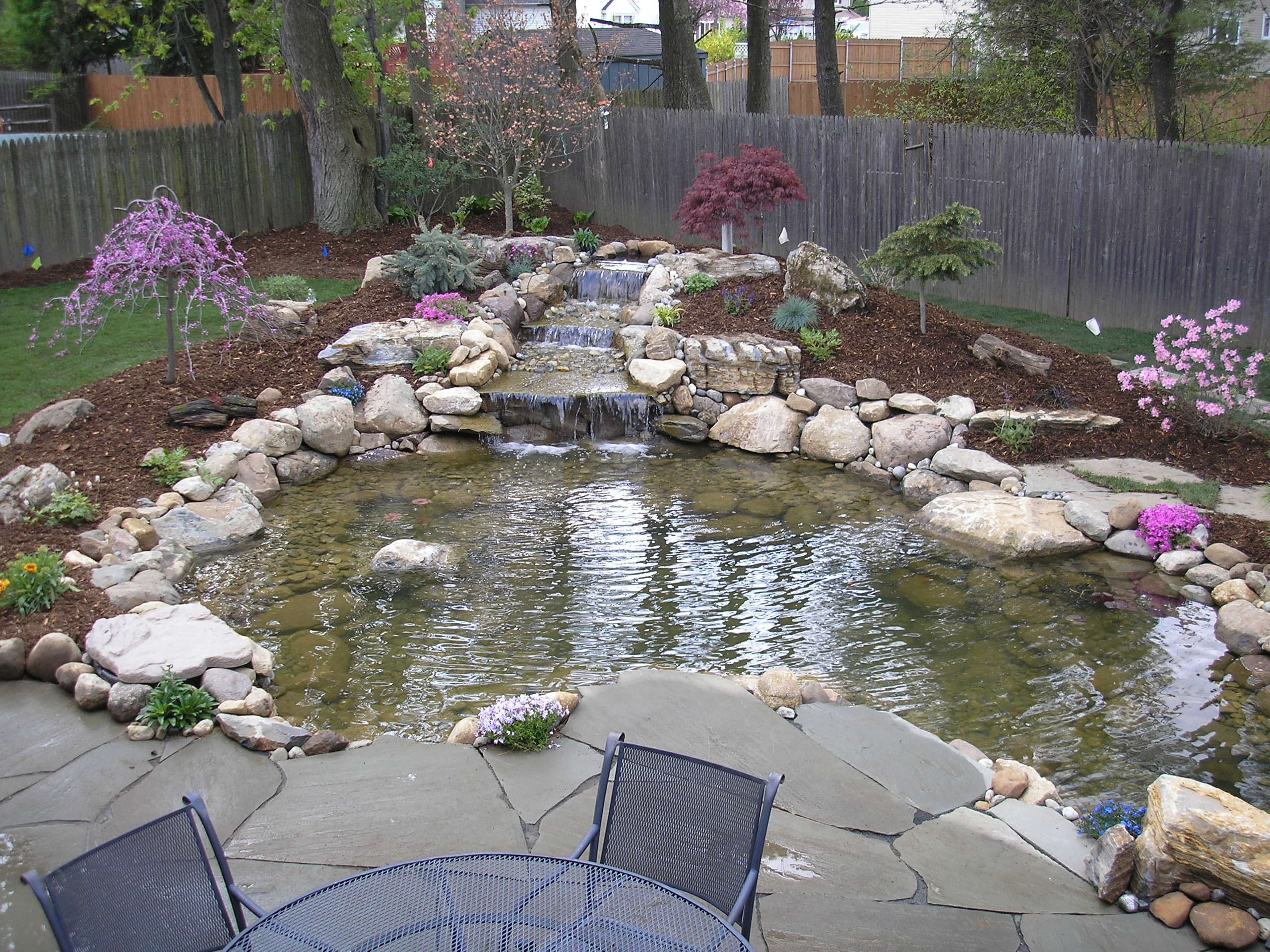 Backyard pond pondless waterfall and water garden kits for Design fish pond backyard