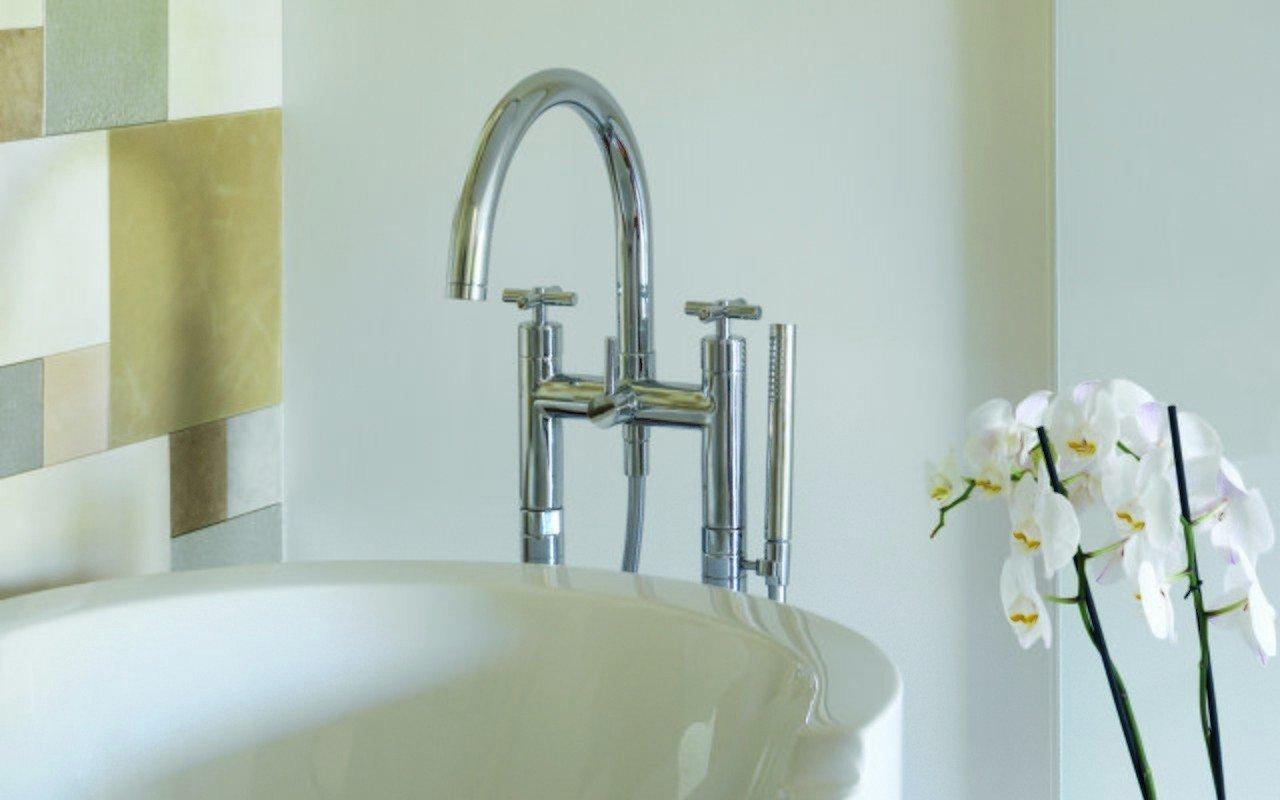 Comfortable Luxury Cubix 5 Hole Tap Deck Mounted Bathroom Shower ...