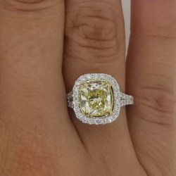5 00 Ct Cushion Cut Fancy Yellow Diamond Solitaire Engagement Ring