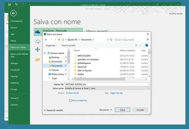 Modello fattura Excel Salvatore Aranzulla
