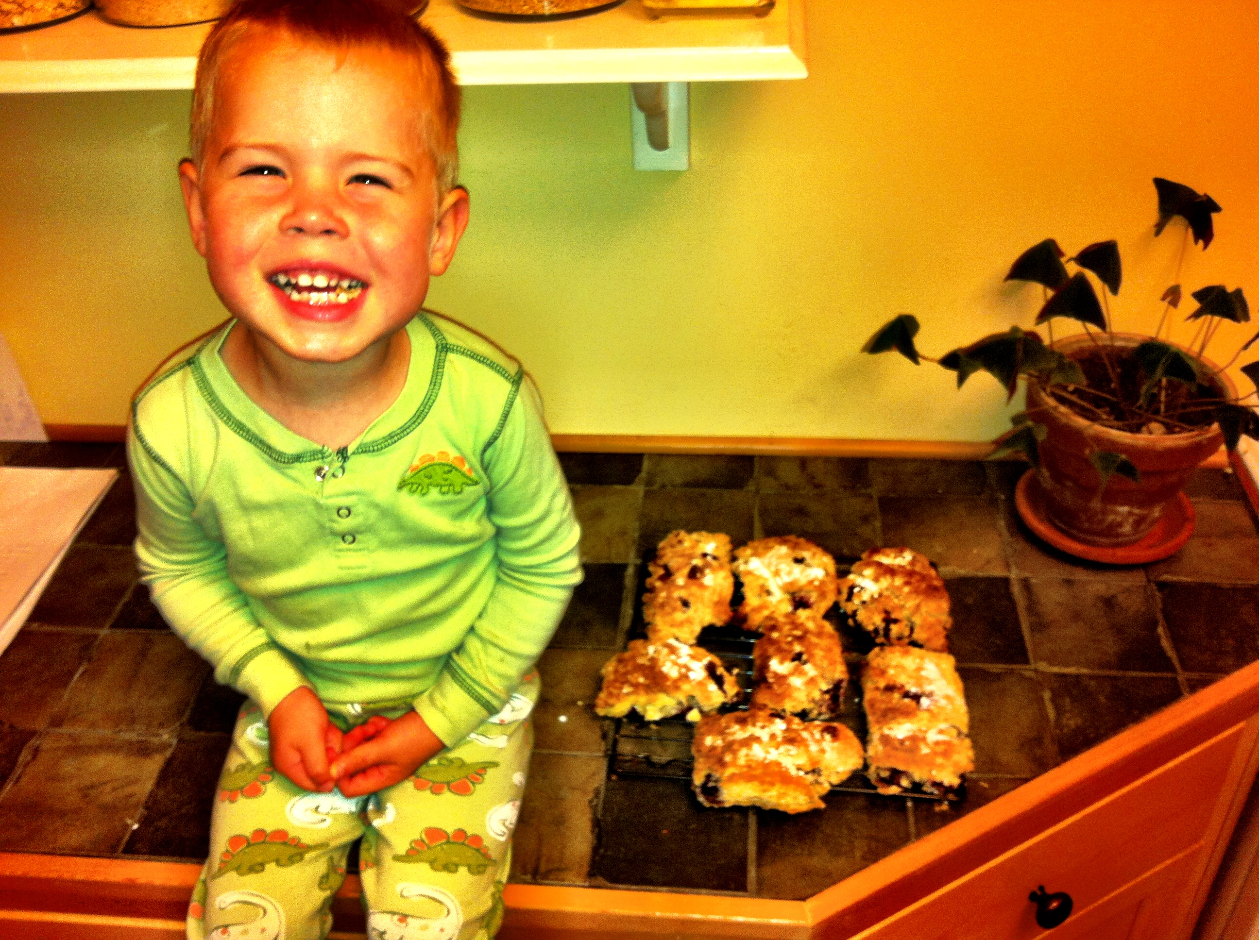 Cheffin' in the early days. Kale was three in this picture, and was very proud of the scones he made with Dad.