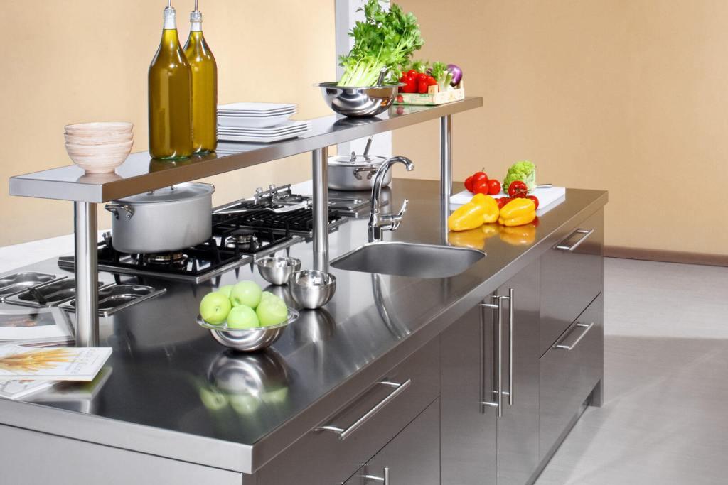Work station arca cucine italia cucine in acciaio inox - Isola centrale per cucina ...