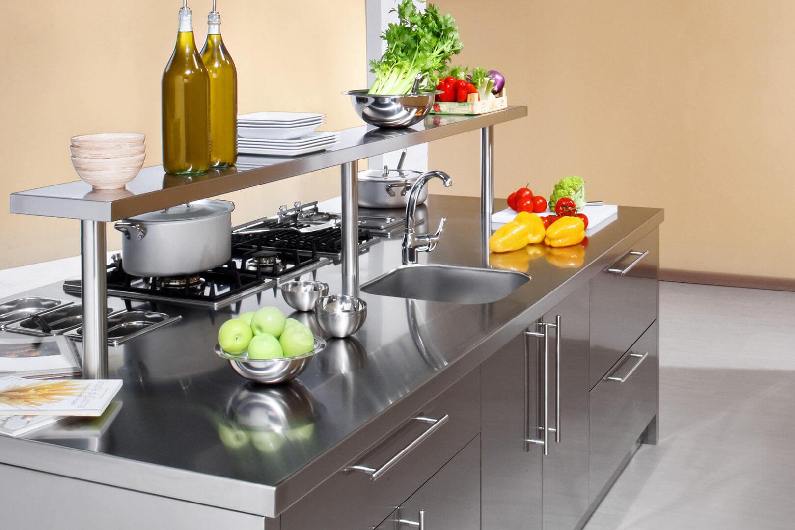 Work station arca cucine italia cucine in acciaio inox - Isole da cucina ...