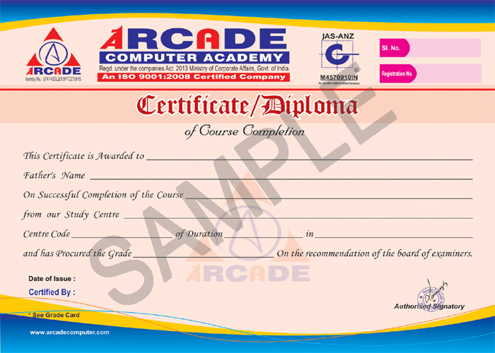 Welcome to Arcade Computer Academy Computer Academy in Patna - computer certificate format