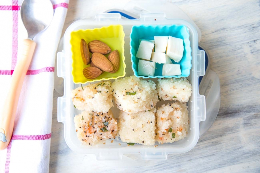 Rava Dhokla Cheese Almonds Kids Lunch Box Recipes By