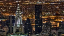A view of Manhattan's Chrysler Building at night from above.  8 exposures combined to maximize range and detail.