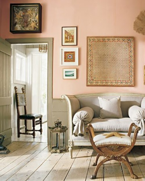 Lovely Peach and Mint Interior Designs - peach living room