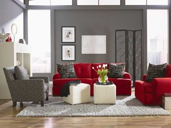 Gorgeous Grey Living Rooms With Red Details - grey and red living room