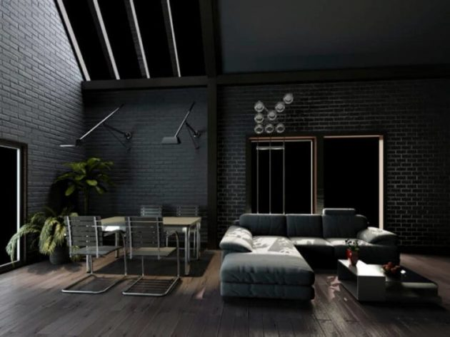 Stress Girl Wallpaper 10 Splendid Living Rooms With Black Brick Wall For