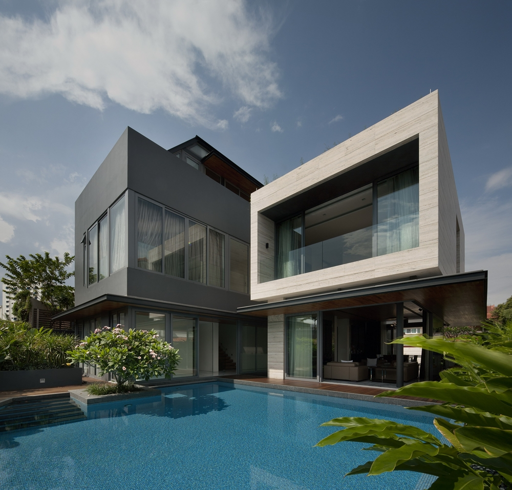 Modern dark and bright facade