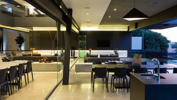 Glass walls inside of Kloof Road House