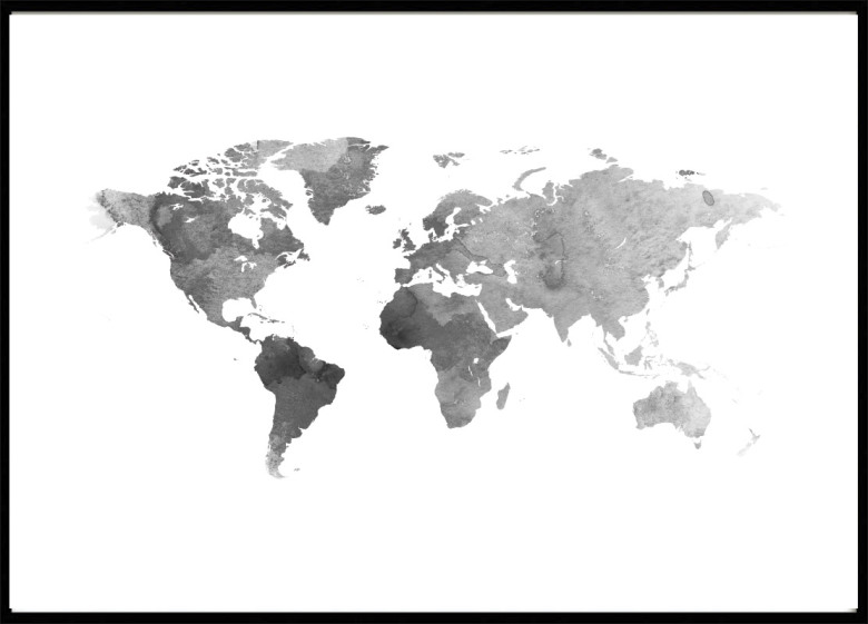 Poster World Map Poster with Maps  Cities - Black And Grey World Map