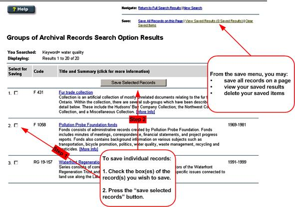 Searching the Archives Descriptive Database - Selecting and Emailing
