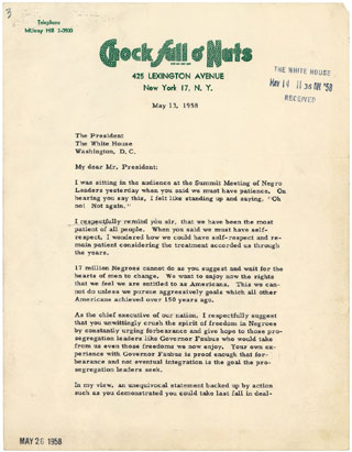 Letter from Jackie Robinson to President Dwight D Eisenhower