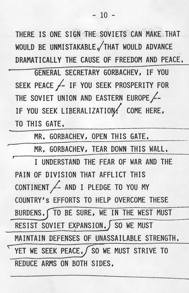 Tear Down This Wall\u201d National Archives - retirement speech example
