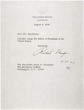 Today\u0027s Document from the National Archives - a letter of resignation
