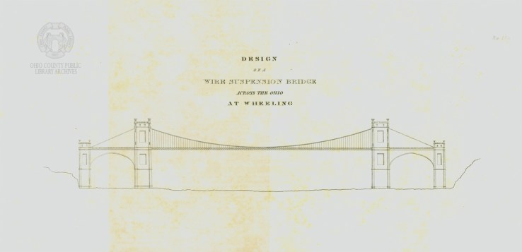 """Charles Ellet Jr.s first steel engraving """"Design of a Wire Suspension Bridge Across the Ohio at Wheeling,"""" looks very different from the bridge we all know and love."""