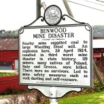 Close-up of the Benwood Mine Disaster road sign. Photo by Seán Duffy.