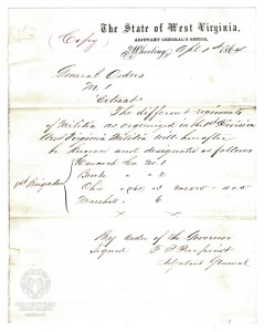 Copy of General Orders from Governor Pierpont