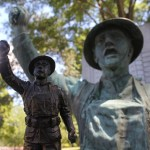 The Wheeling Doughboy and his 11 inch scale doppelganger, together at last on a sunny August day in the park.