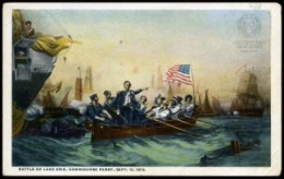 Commodore Perry leaves the Lawrence for the Niagara. This image is based on William Henry Powell's painting, which now hangs in Ohio's state capitol. OCPL Archives.