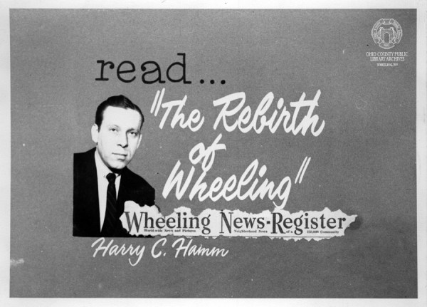"Slide used by WTRF for the ""rebirth of Wheeling"" on-the-air announcements. Hamm Collection, OCPL Archives."