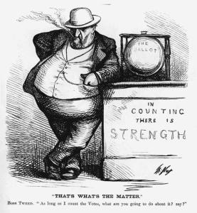 One of many caricatures of Tweed by Thomas Nast that appeared in Harper's Weekly.