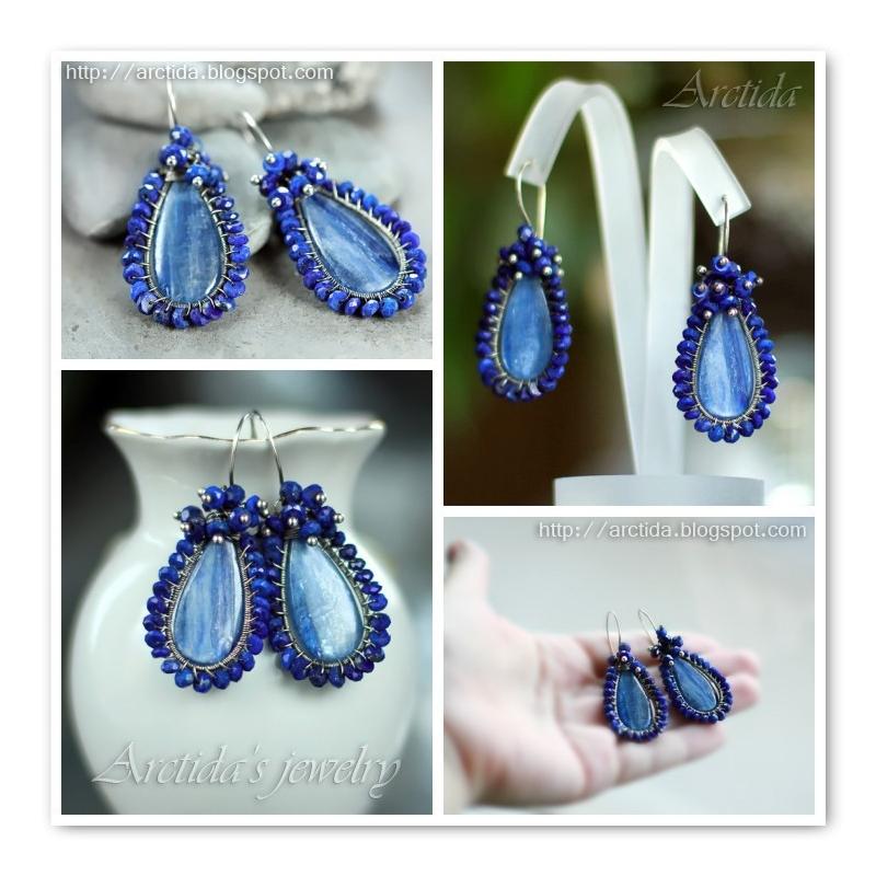 Kyanite Lapis lazuli earrings oxidized sterling silver
