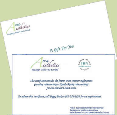 AREA AESTHETICS - Decorating and Home Decor Gift Certificates
