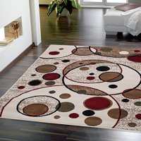 Sweet Home Stores Clifton Collection Modern Circles Design Area Rug 5'x7', Beige