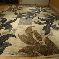 New Beautiful Gorgeous Leaf Design Modern Rug 5x8 Rugs Beige Black Blue Gray Brown Indoor Rugs Floor Carpet Floral Rugs 5x7 Carpets Multisize Rugs (Medium 5x8)