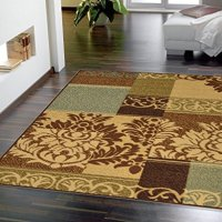 "Ottohome Collection Brown Contemporary Damask Design Area Rug with Non-skid (Non-slip) Rubber Backing (2'7""x4'1"")"