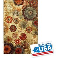 New Medallion Floral Shapes Area Rug 5 Feet X 8 Feet , Multicolor Multi Color Carpet,Soft Rug, Stain Resistant, Foyer, Dining Room, Living Room