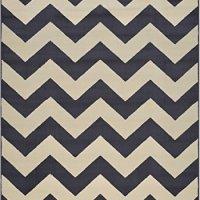 "Zigzag Chevron Black Tan or Petrol Blue Tan or Grey Tan Area Rug Contemporary Modern (Dark Grey, 4'9""x6'10"")"