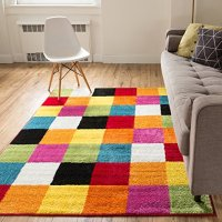 "Modern Rug Squares Multi Geometric Accent 3'3"" x 5' Area Rug Entry Way Bright Kids Room Kitchn Bedroom Carpet Bathroom Soft Durable Area Rug"