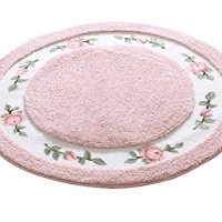 JSJ_CHENG® Round Soft Cute Rose Floral Microfiber Bathroom Area Rugs and Mats for Bathroom, Bedroom, Kitchen (27.5-inch Diameter, Pink)