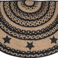 Rug - Braided Jute Farmhouse Star Half Circle Shaped Rug Black Tan - Primitive Country Rustic