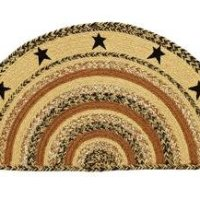 Kettle Grove Stencil Star Braided Jute Rug, Half Circle -16.5x33""