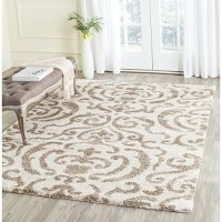 "Safavieh Florida Shag Collection SG462-1113 Cream and Beige Area Rug, 3 feet 3 inches by 5 feet 3 inches (3'3"" x 5'3"")"