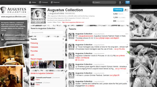 Augustus Collection Twitter landing